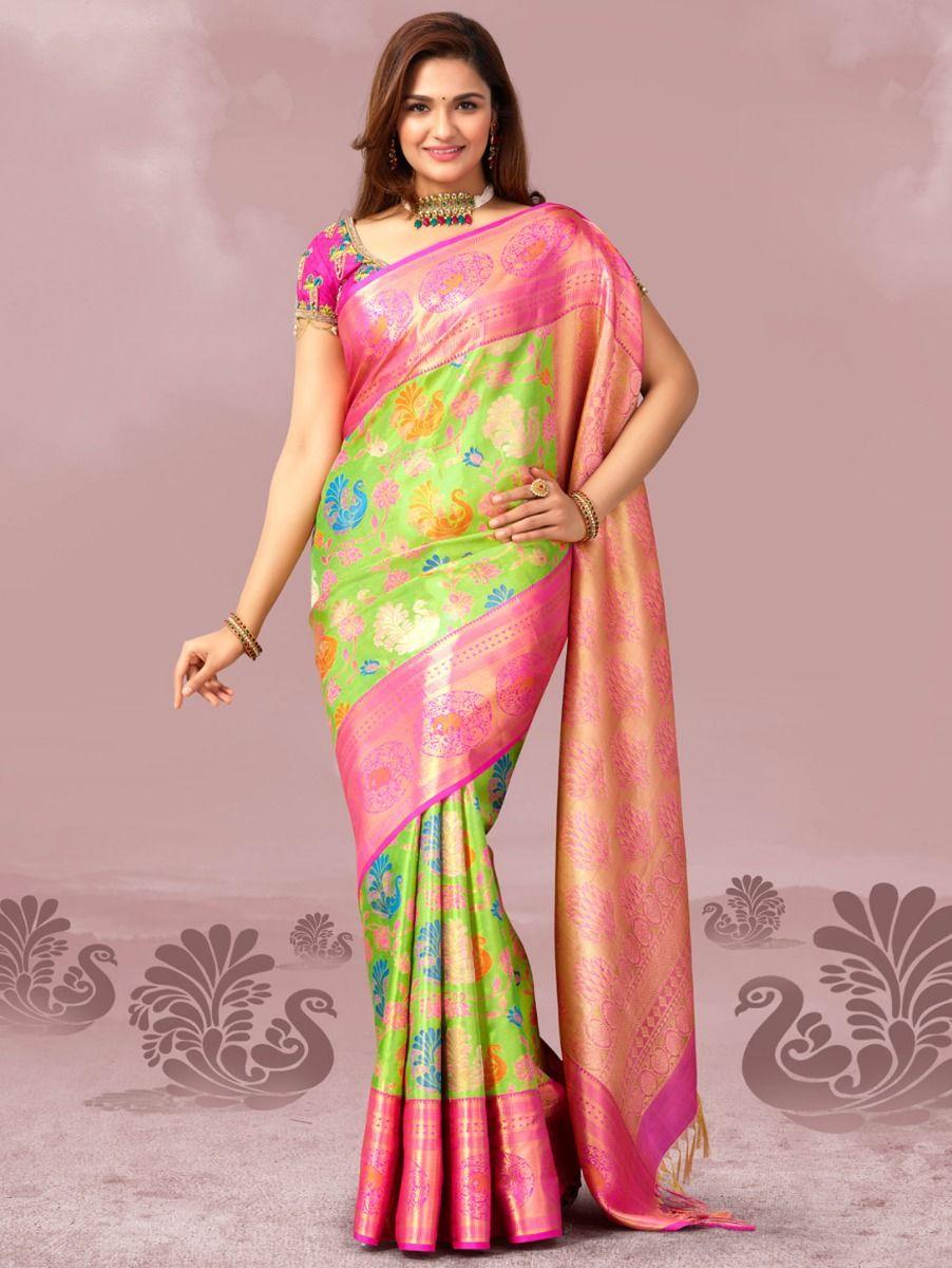 a5452fa5c23fd8 Vivaha Goddess Green Color Pure Silk Saree