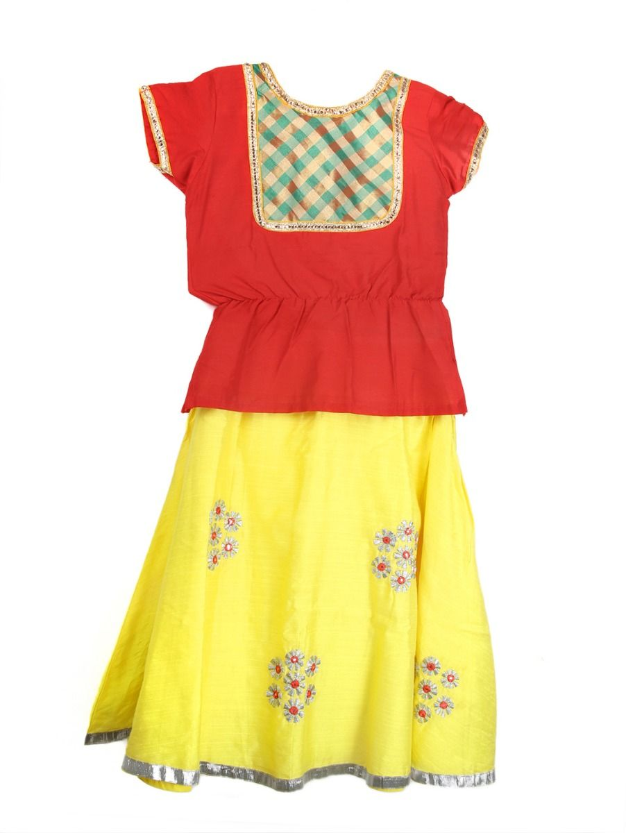 Girls Ready Made Art Silk Pavadai Set - TUPPP05