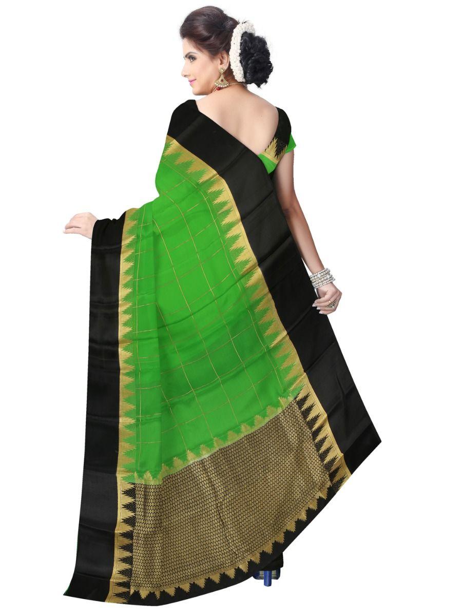 e704e7579c4 Kyathi Mysore Silk Green Saree