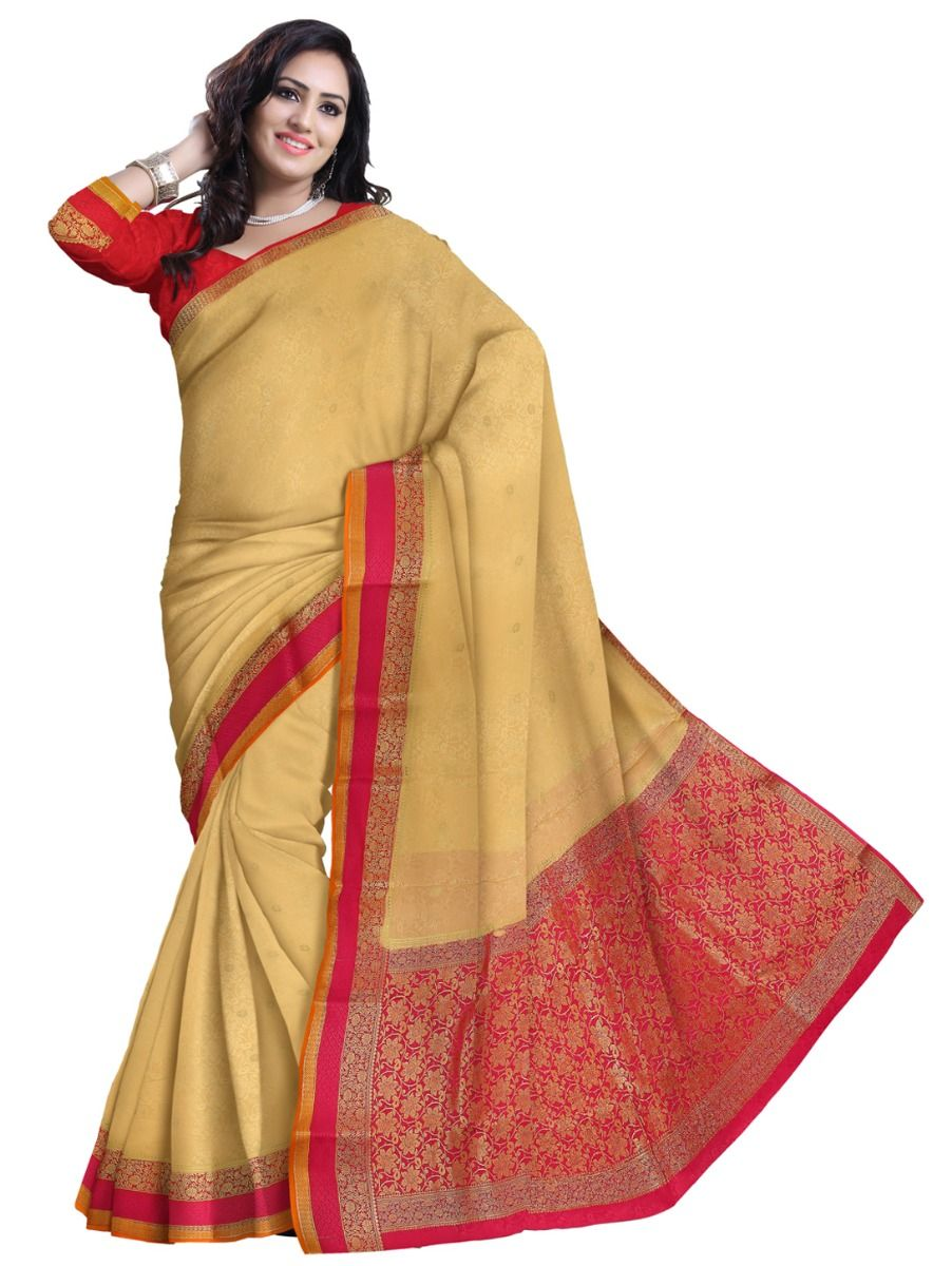 3546ceddc31 Kyathi Mysore Silk Cream Color Saree. Double tap to zoom