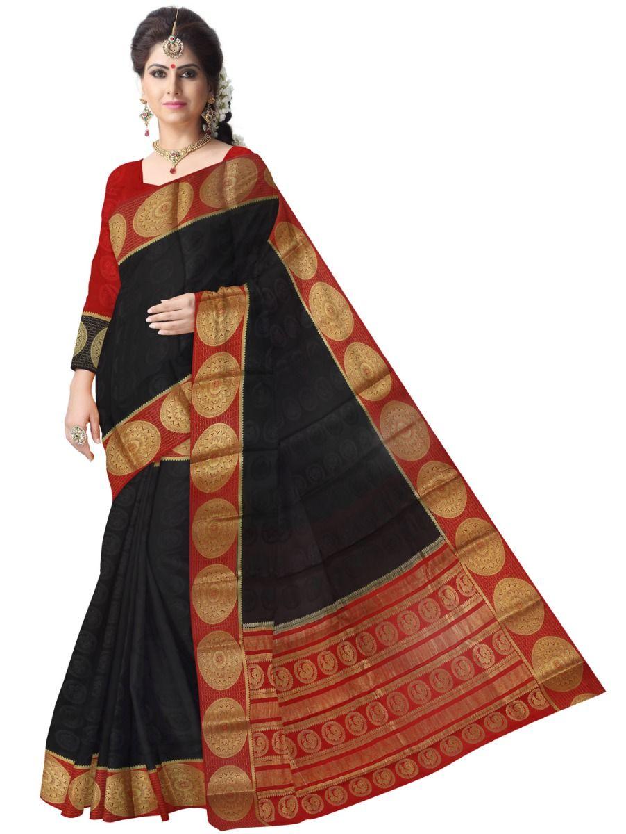 d21d1596162 Kyathi Mysore Silk Black Saree. Double tap to zoom
