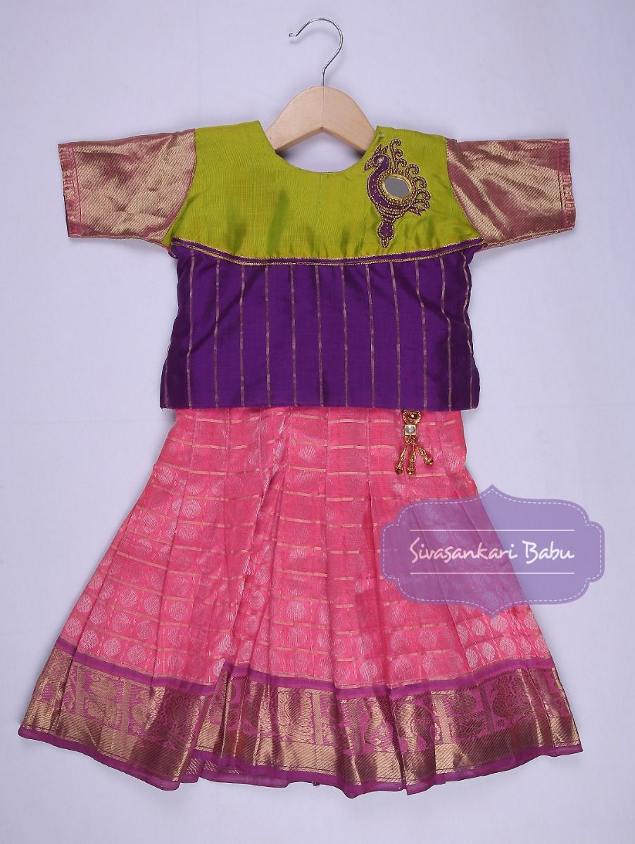 Sivasankari Babu Girls Silk Pavadai Set