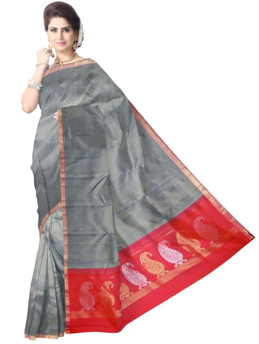 Vivaha Wedding Grey Silk Saree