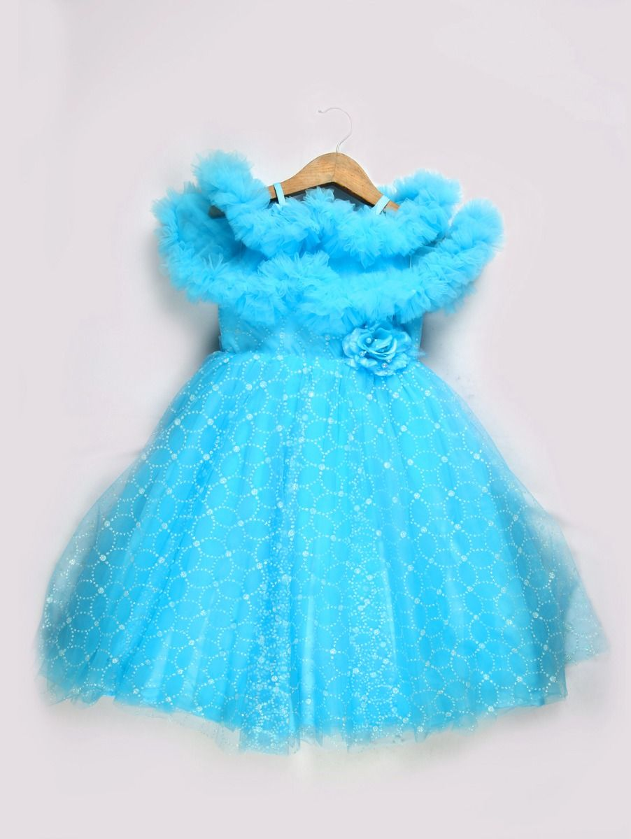 Girls Imported Fancy Frock - Sky Blue