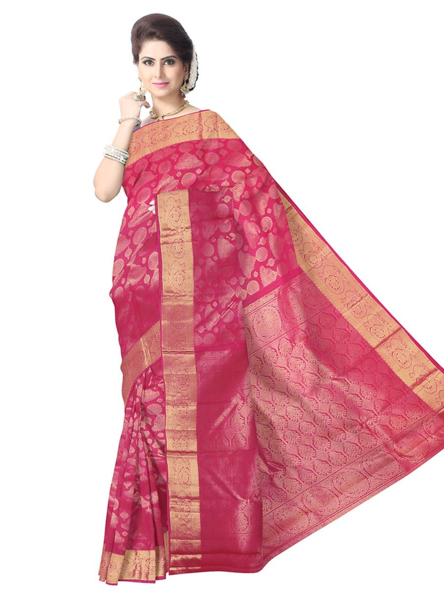 ac08d90261 Pink Kanchipuram Silk Saree