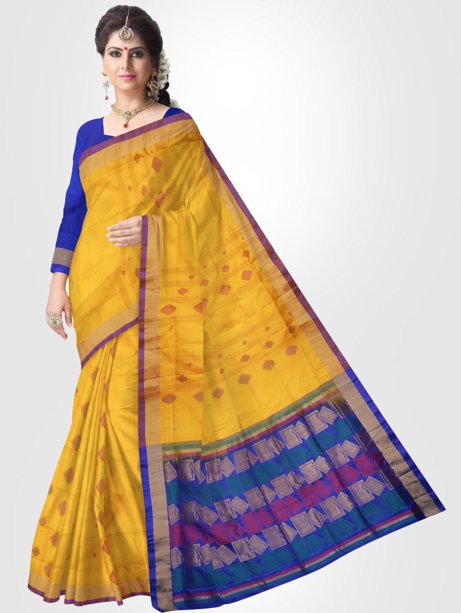 Soft Silk Saree - Yellow - SS1710