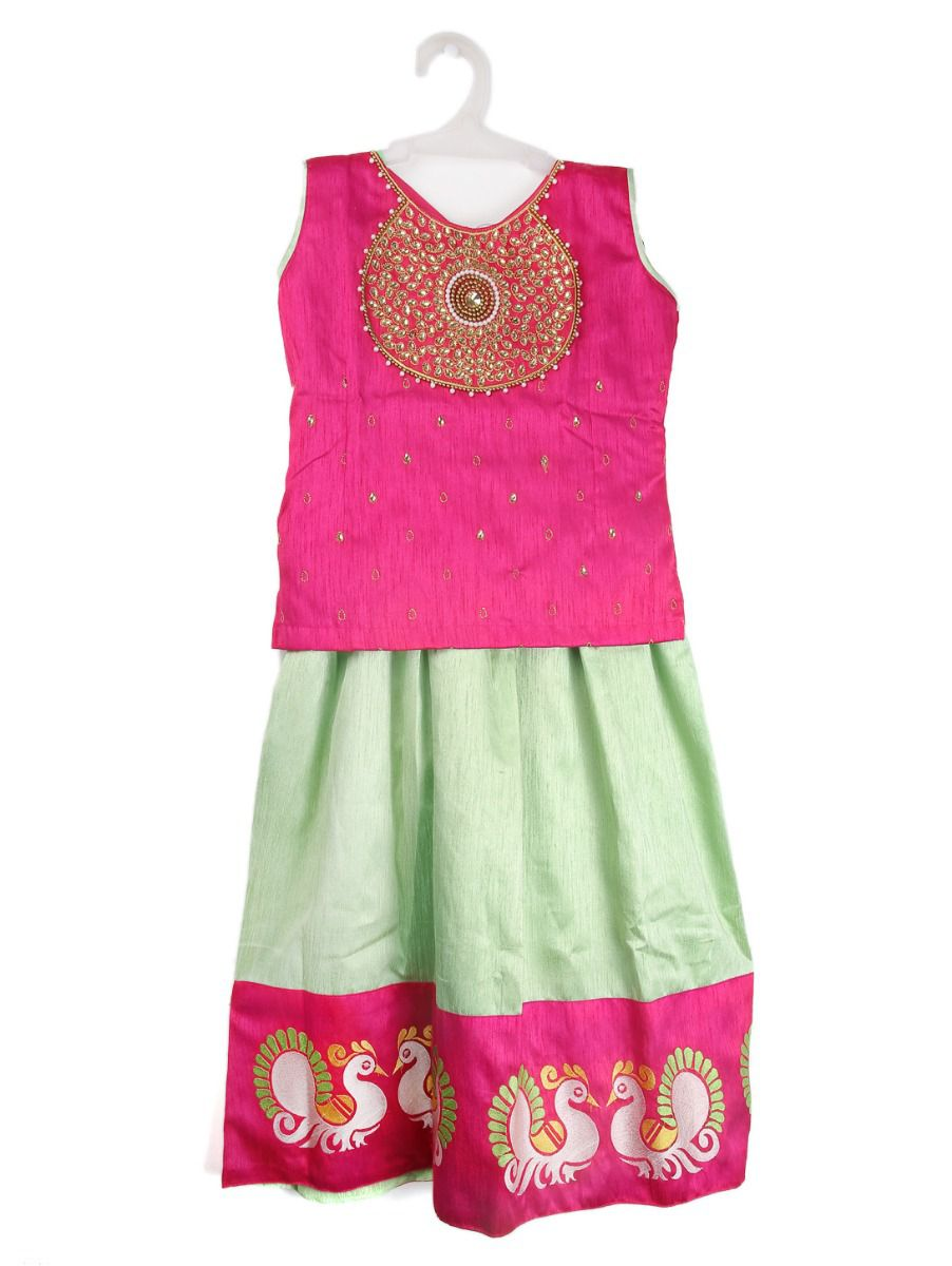 Girls Ready Made Art Silk Pavadai Set - TUPPP13
