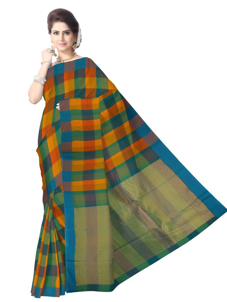 Chamelli Fancy Silk Cotton Checked Saree