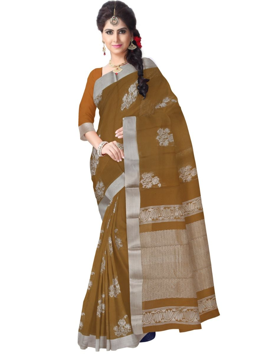 Chammeli Fancy Silk Cotton Brown Saree