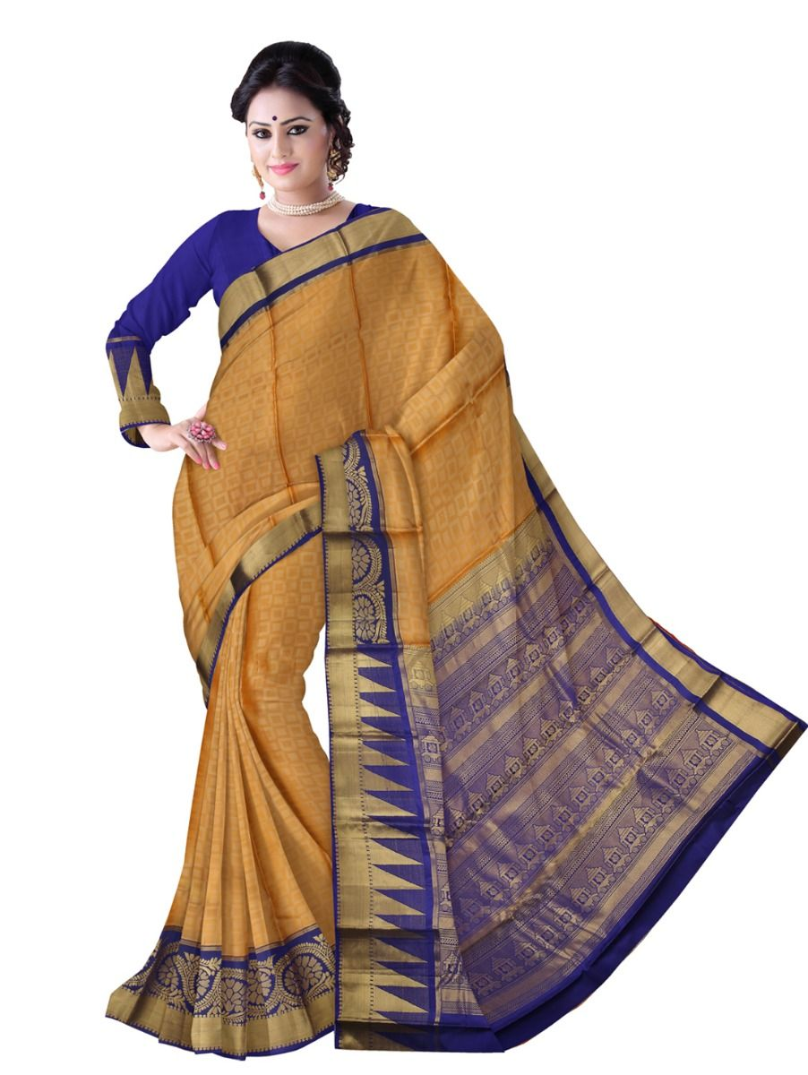 Bairavi Traditional Mustard Color Silk Saree
