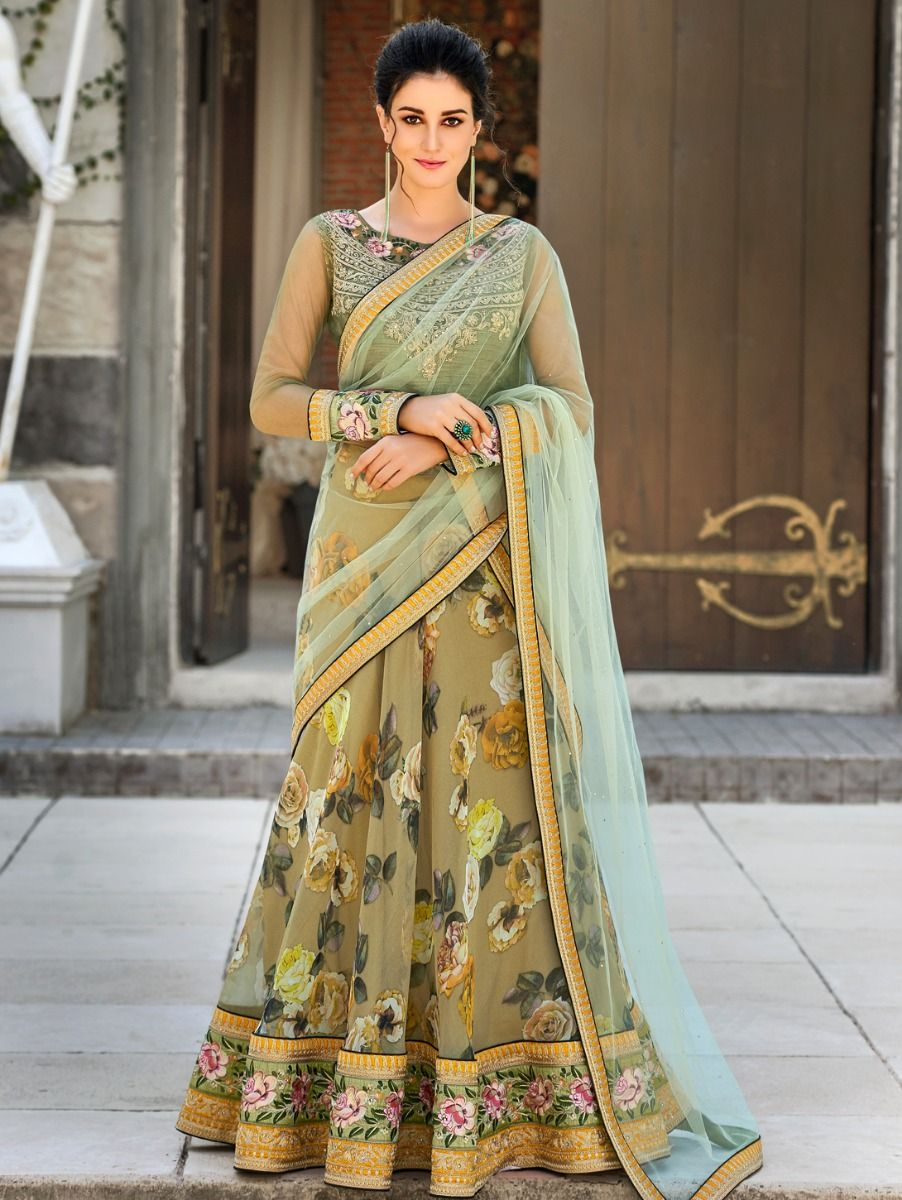 Women's Embroidered Digital Print 2 in 1 Gown & Lehenga