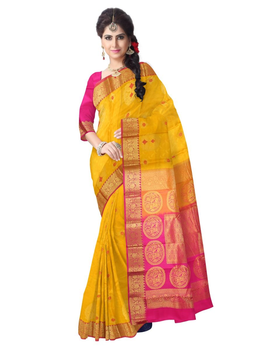Uppada Traditional Yellow Silk Saree