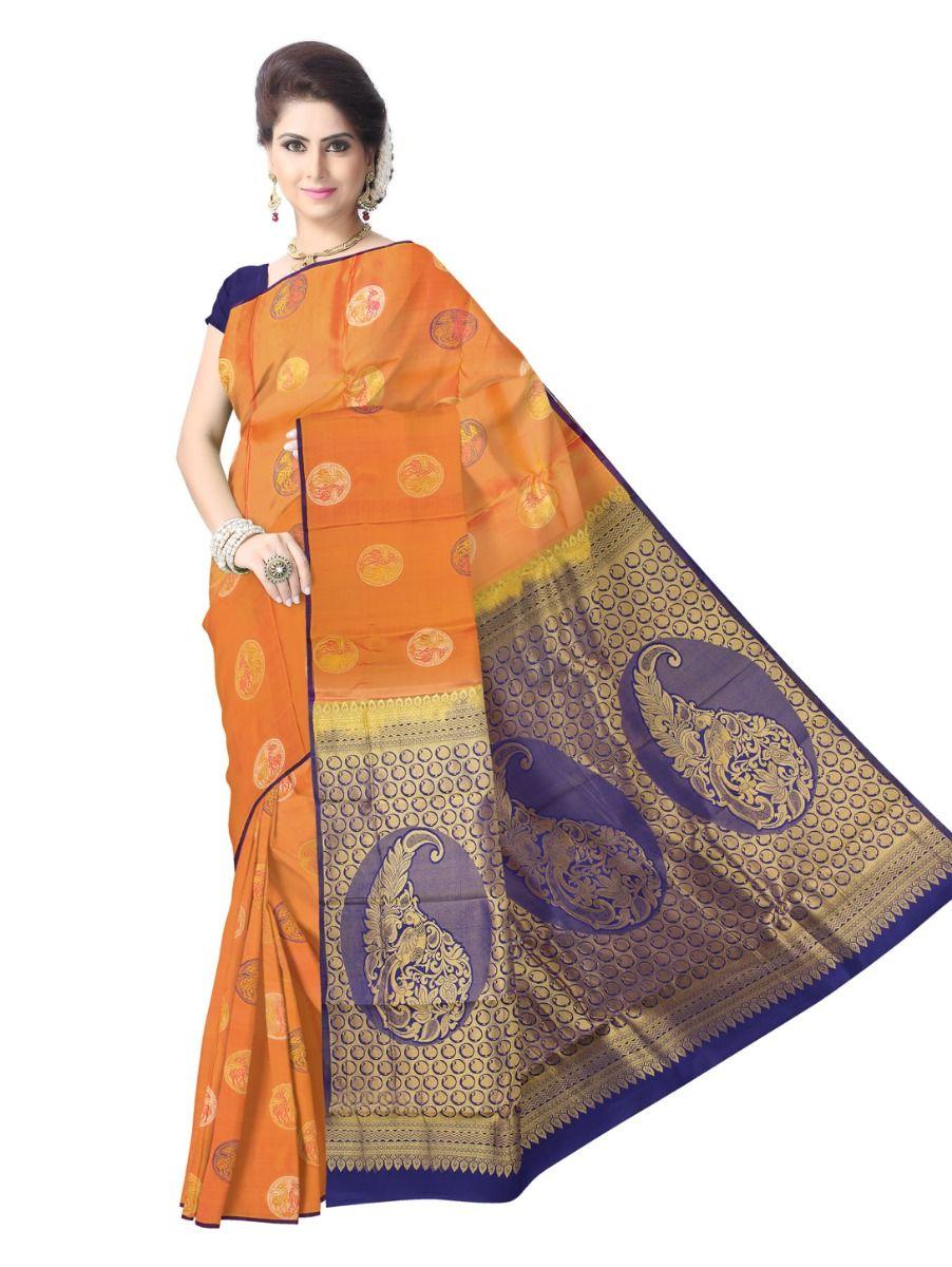 Uppada Traditional Orange Color Silk Saree