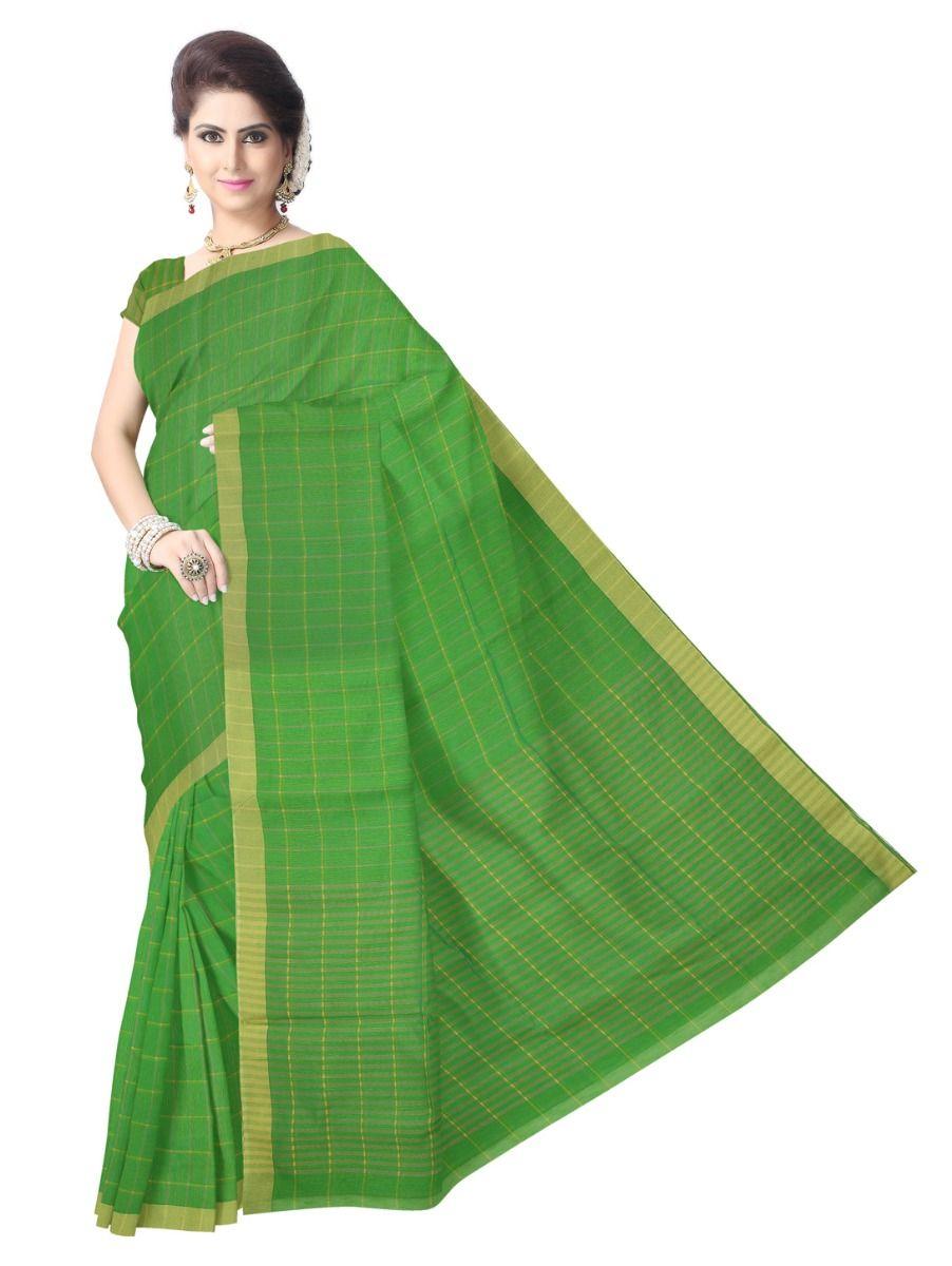 Chammeli Linen Cotton Green Saree