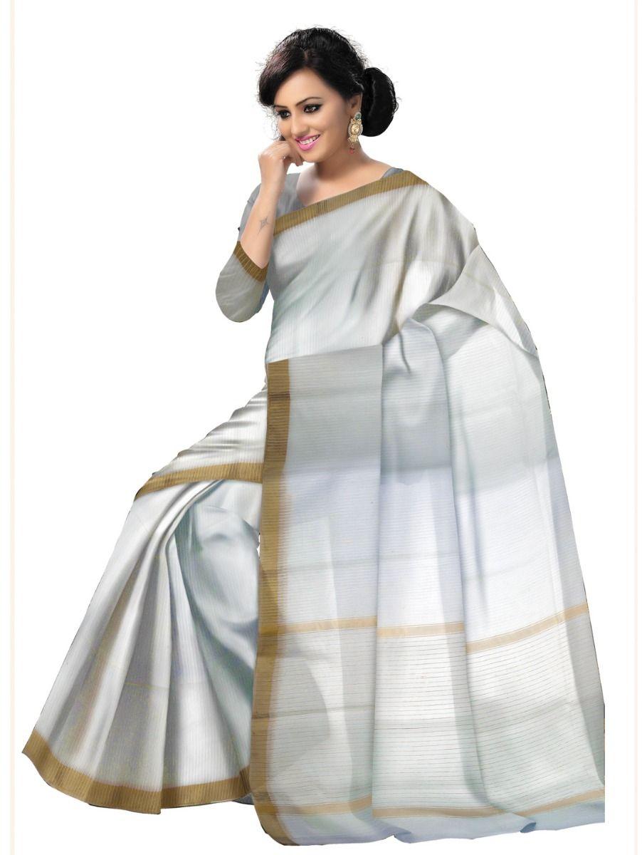 Chammeli Linen Cotton White Saree