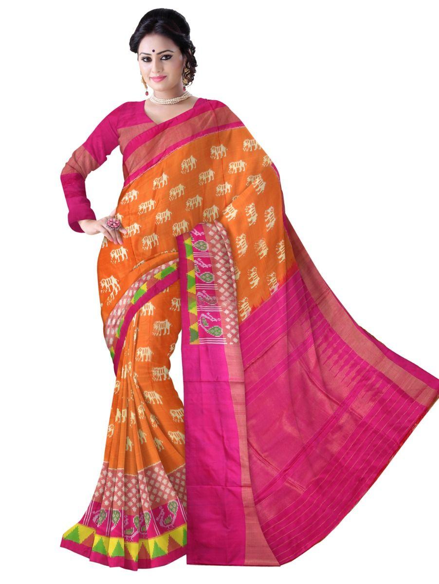 Pochampalli Ikat Soft Silk Orange Color Saree