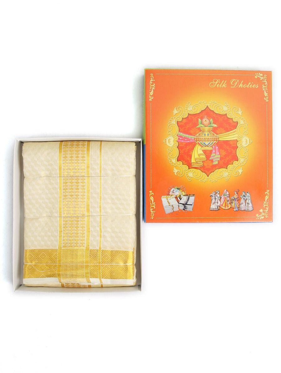 Vivaha Embossed Pure Silk Dhoti