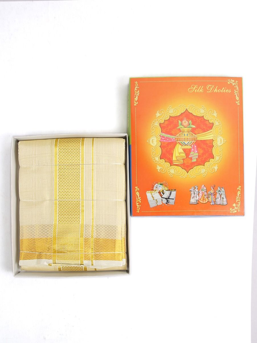 Vivaha Embossed Pure Silk Dhoti