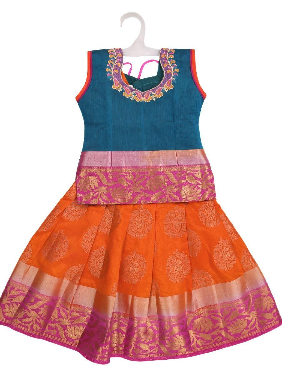 Girls Ready Made Art Silk Pavadai Set