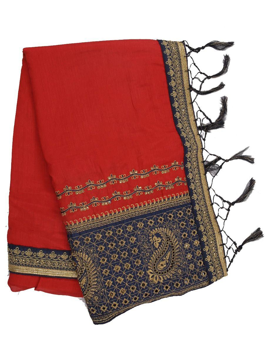 Kathana Exclusive Designer Embroidery Raw Silk Saree
