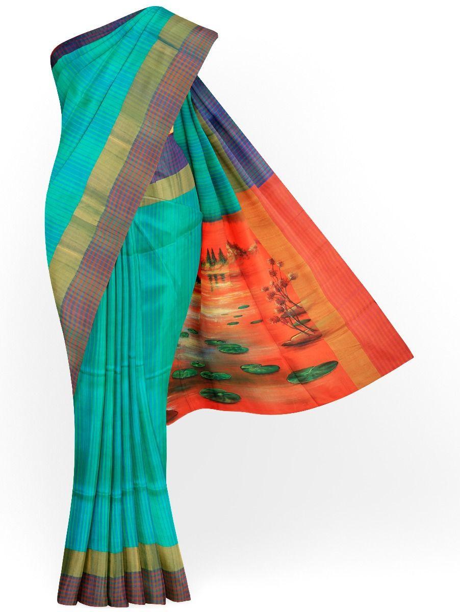 MED8115641 - Kanmanie Painted Design Soft Silk Saree