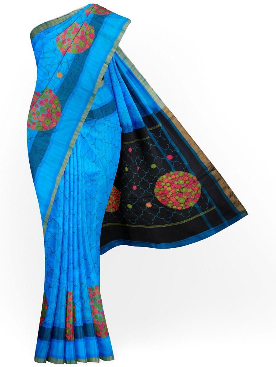 MJC7619273-Embroidery Designs Work Soft Silk Saree