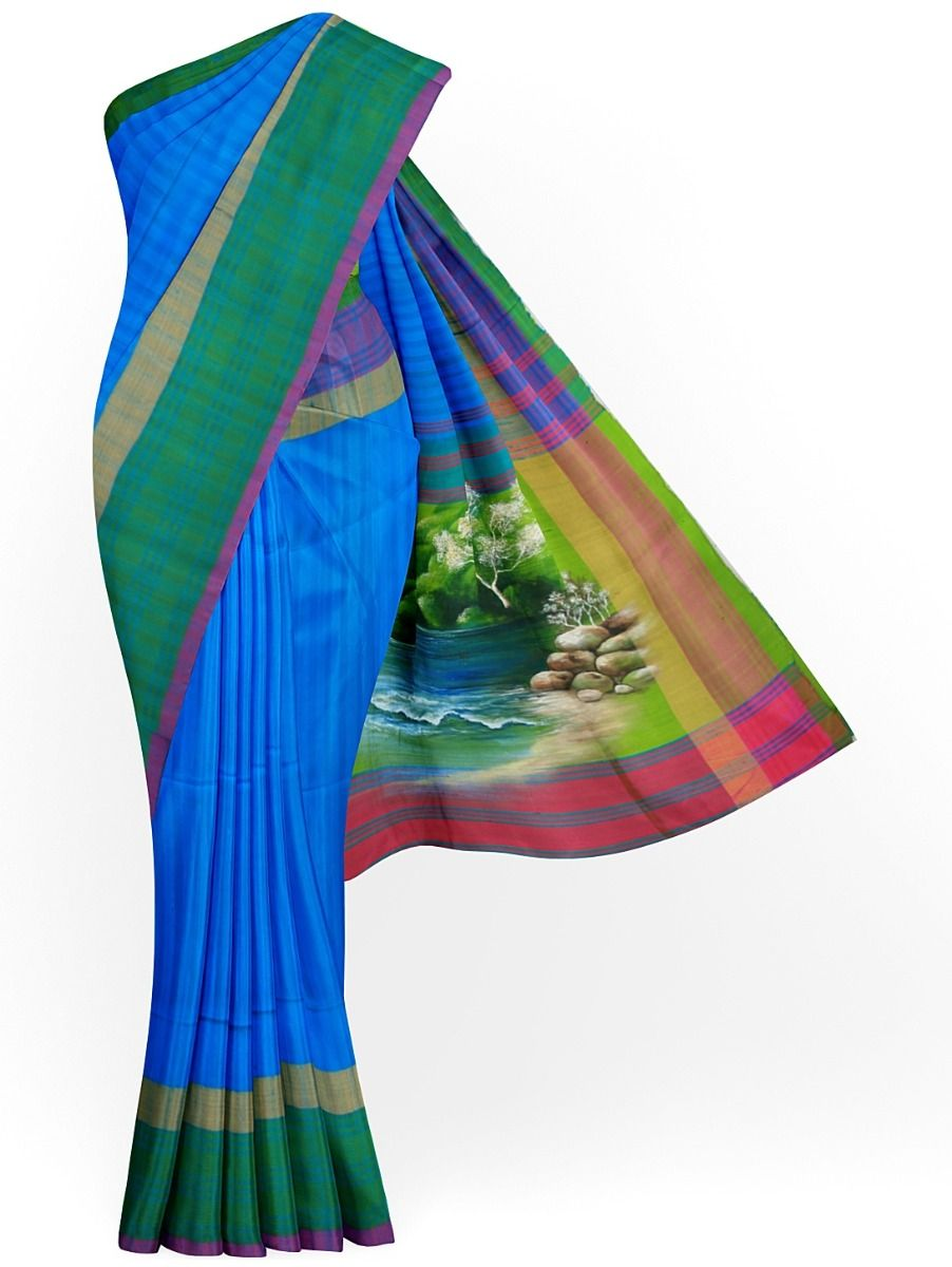 MJC7619281-Kanmanie Handpainted Soft Silk Saree