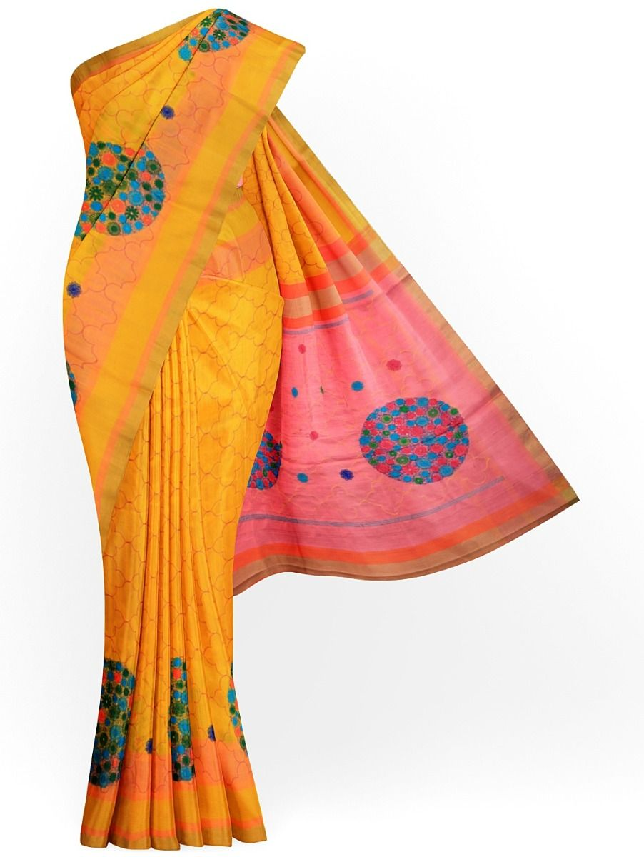 MJC7619266-Embroidery Designs Work Soft Silk Saree