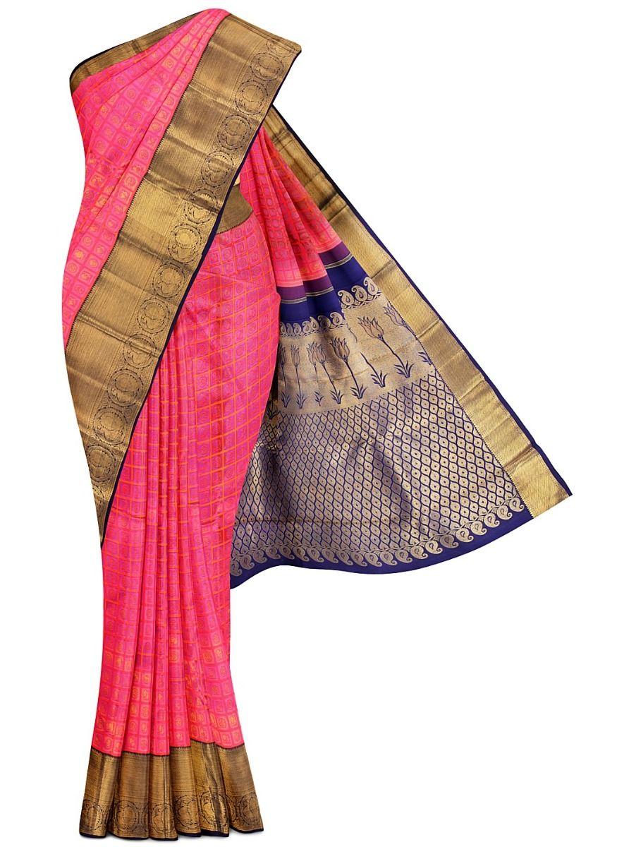 Vivaha Kanchipuram Pink Bridal Silk Saree