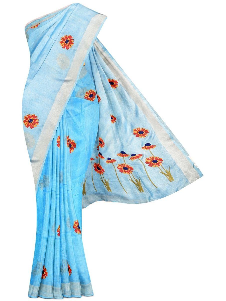 MEC7916844-Linen Cotton Saree