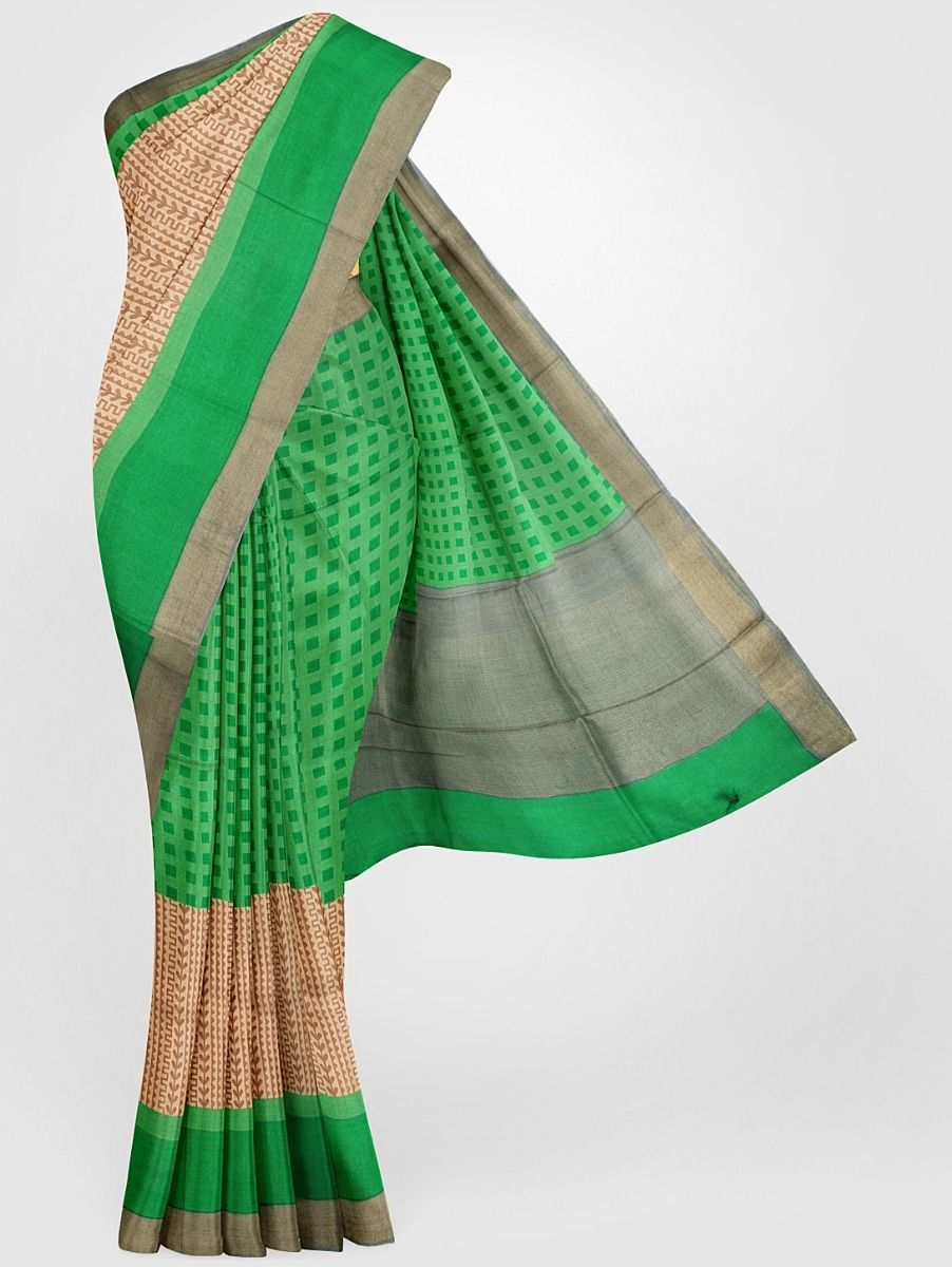 MGB8355696-Tussar Printed Design Silk Saree