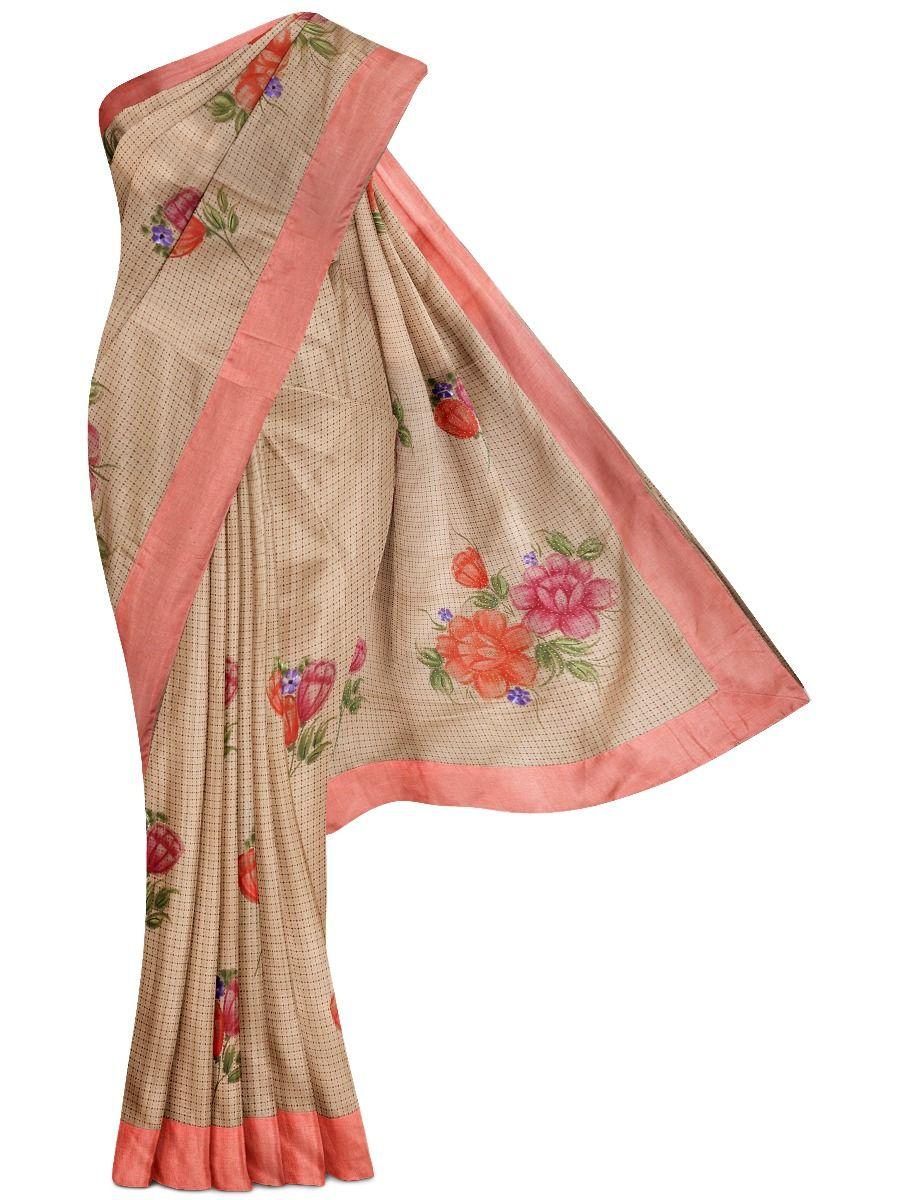 MGB8789500-Flower Design Dupion Tussar Silk Saree