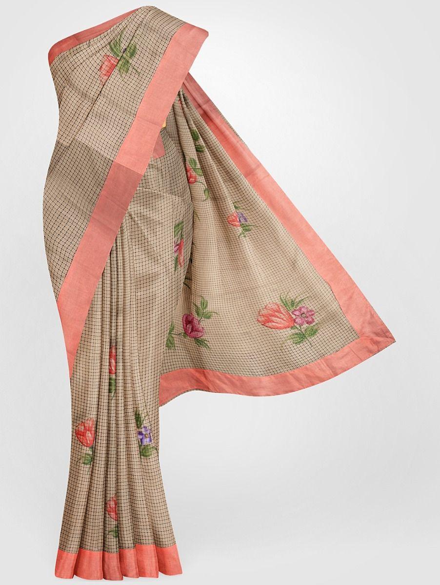 Fancy Tussar Printed Silk Saree
