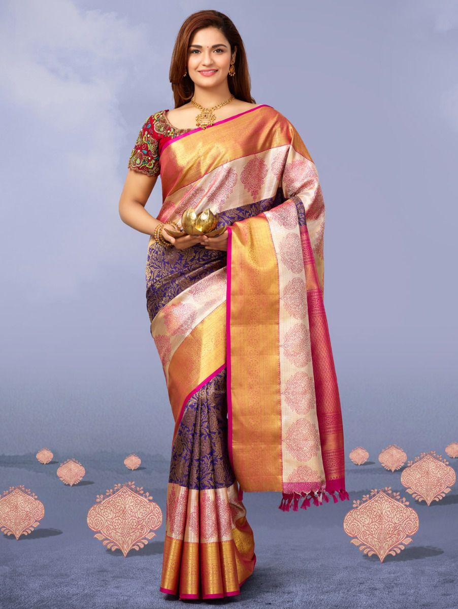 Vivaha Goddess Purple with Pink  Pure Silk Saree