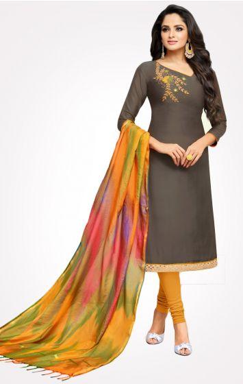 Long Slub Cotton Dress Material-LSDM3009