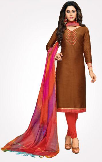 Long Slub Cotton Dress Material-LSDM3011