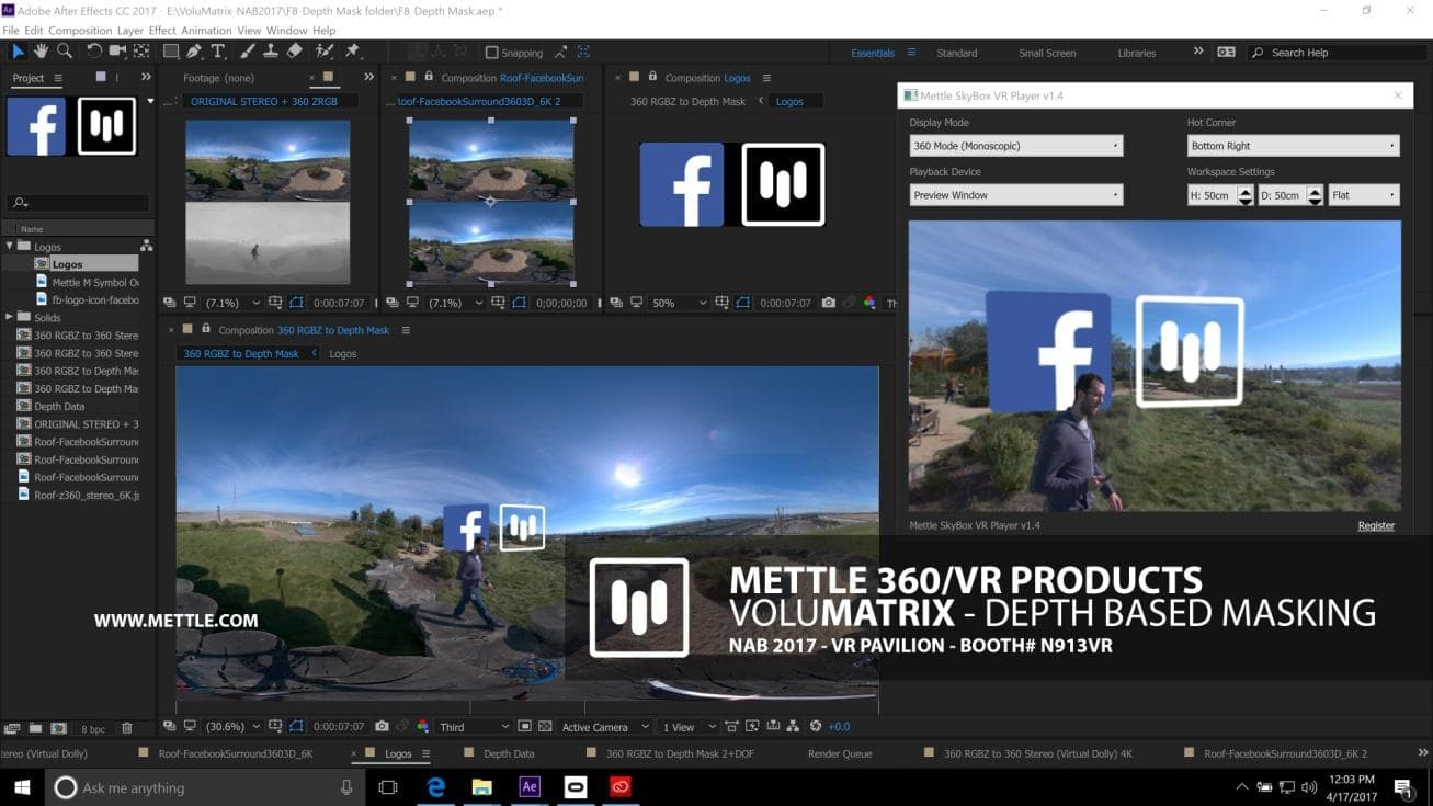 Collaboration between Mettle and Facebook to introduce 360°/VR Depth Plug-in