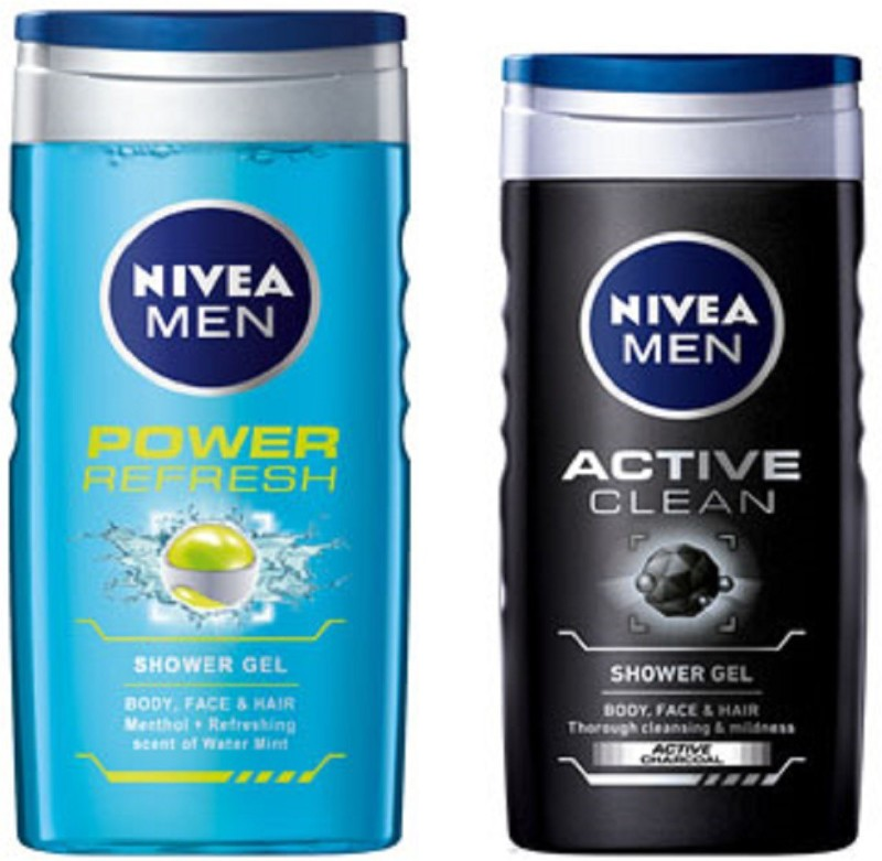 Nivea MEN ACTIVE CLEAN SHOWER GEL 250ML + MEN POWER REFRESH SHOWER GEL  250ML(250 Ml, Pack Of 2)