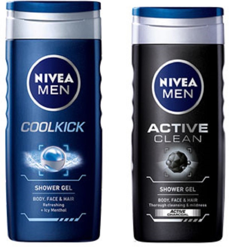 Nivea MEN ACTIVE CLEAN SHOWER GEL 250ML + MEN COOL KICK SHOWER GEL  250ML(250 Ml, Pack Of 2)