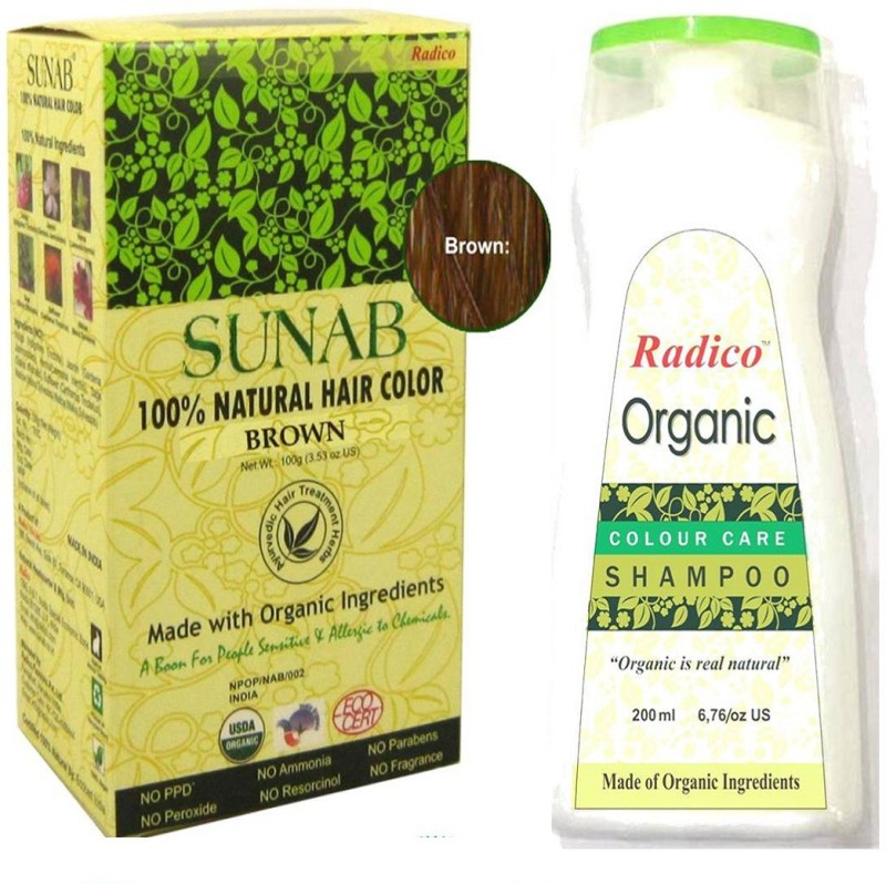 Radico Sunab 100 Usda Certified Organic Hair Color Brown With