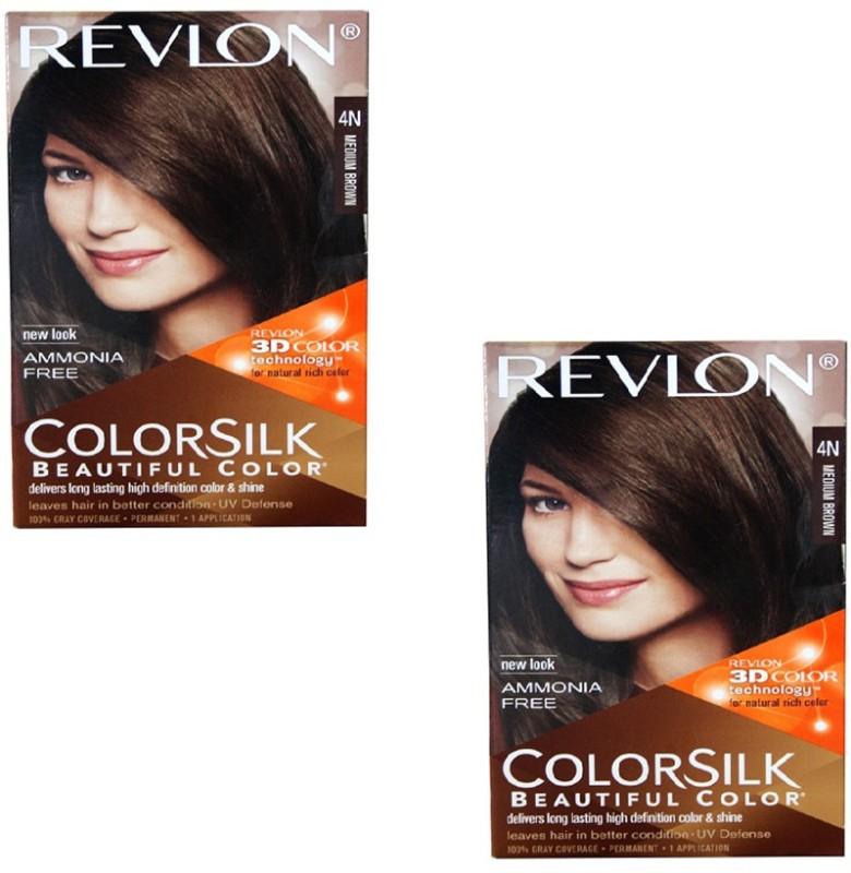 Revlon 3d Color Silk Pack Of 2 Hair Colormedium Brown 4n Fabbon