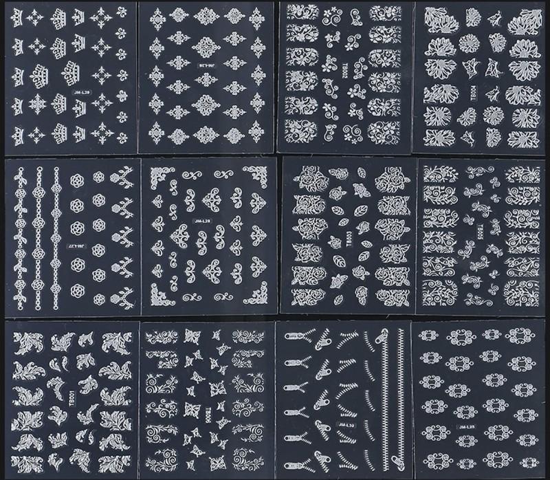 STZ 12 Sheets of Silver Nail Art Sheets(Silver) | Fabbon