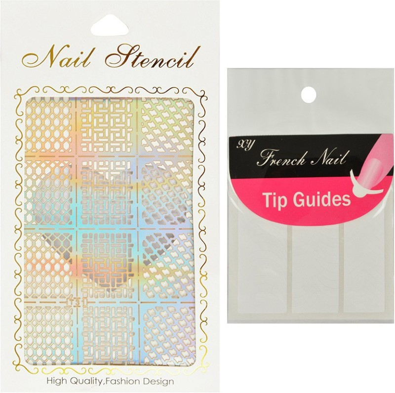 Looks United Nail Art Stencil And French Nail Tip Guides(multicolor ...