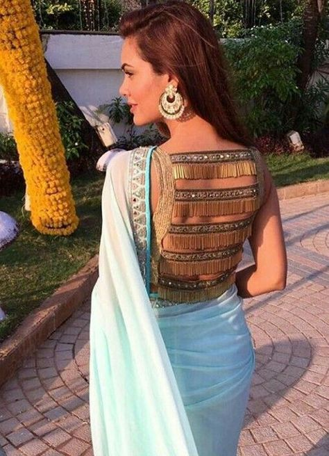 Sheer and Beaded Back Design Blouse