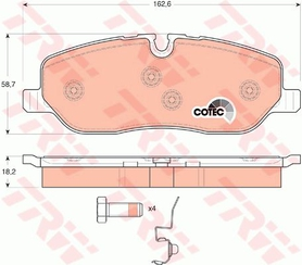 Front Brake Pad Set, Range Rover Sport 06-09, LR019618