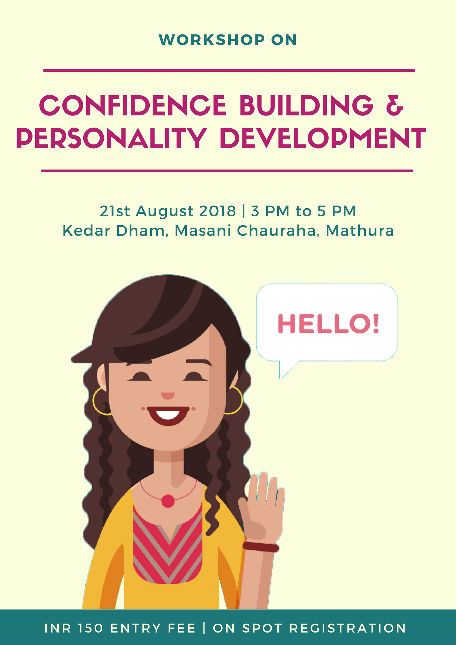 Confidence Building & Personality Development Workshop Tickets by Pawani  Khandelwal, 21 Aug, 2018, Mathura Event