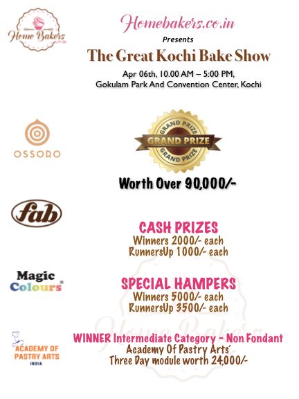 The Great Kochi Bake Show Tickets by Homebakers co in, 6 Apr, 2019, Kochi  Event