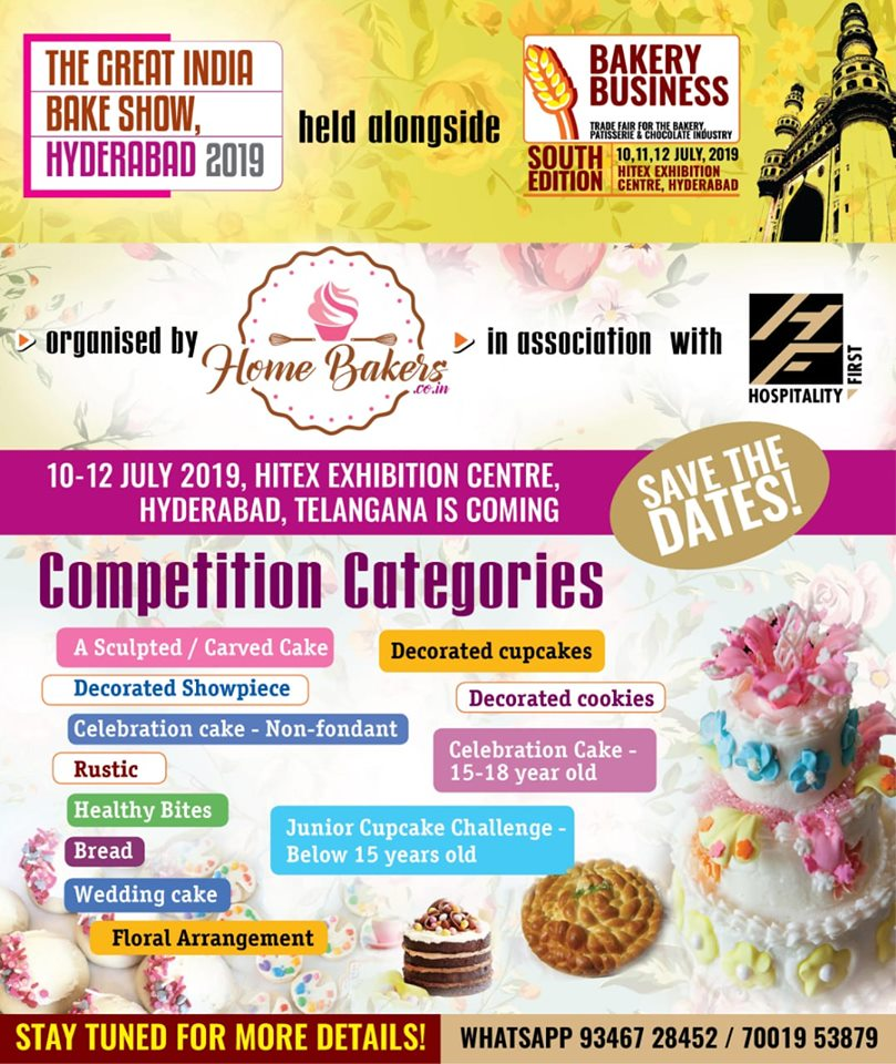 THE GREAT INDIA BAKE SHOW 2019 Tickets by Homebakers co in, 10 Jul, 2019,  Hyderabad Event