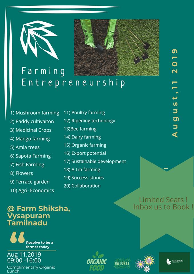 Farming entrepreneurship Workshop Tickets by Farm Shiksha, 11 Aug, 2019,  Vyasapuram Event