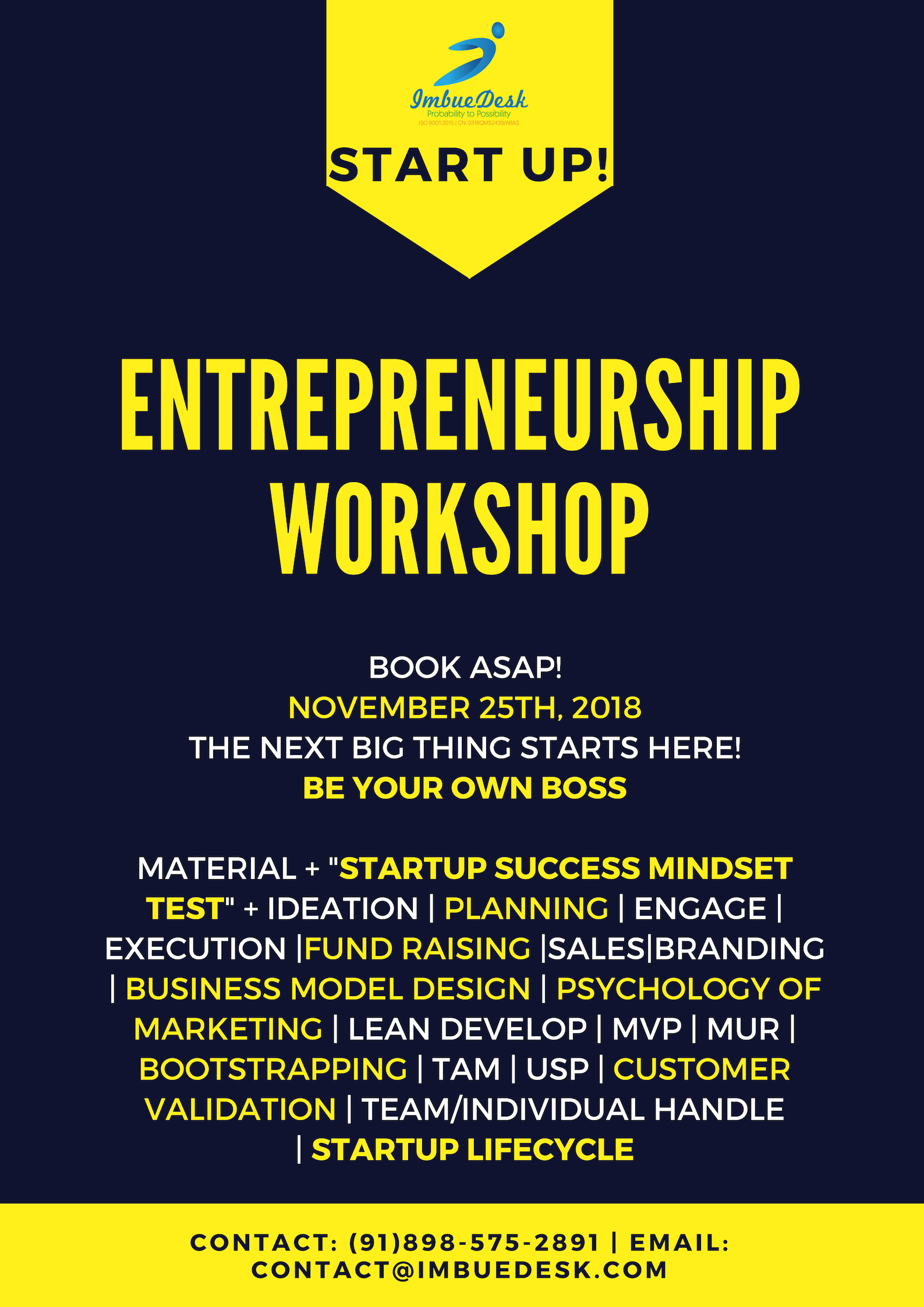 Startup and Entrepreneurship Workshop, One day Mastery of Business Process  Tickets by Puranam Pradeep Picasso, 25 Nov, 2018, Hyderabad Event